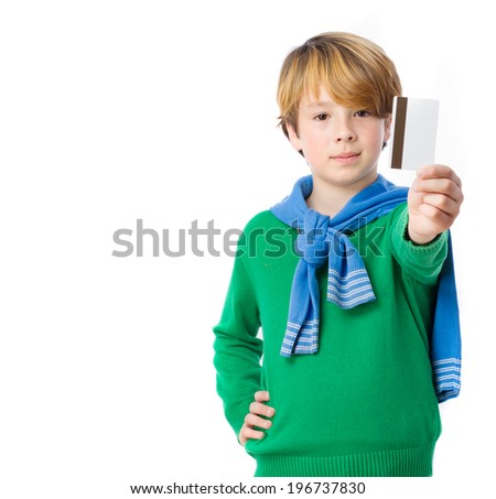 Child who offers to pay by credit card - stock photo