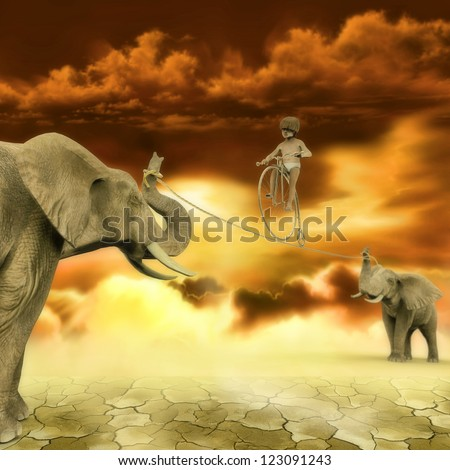 Child with a bike on a rope and 2 elephants