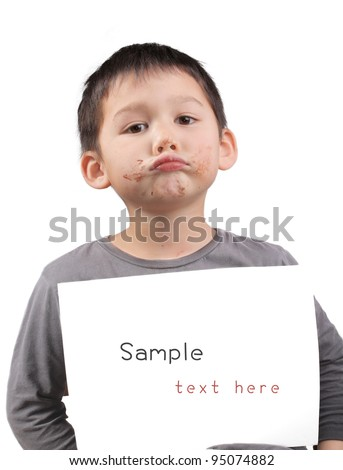 child with a paper text free - stock photo