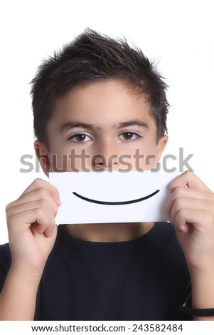 child with a smile card - stock photo