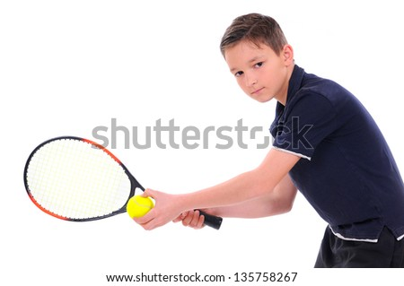 child with a tennis racket isolated on a white