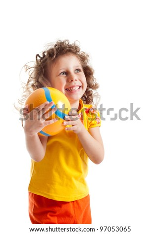 Child with ball, portrait on a white background - stock photo