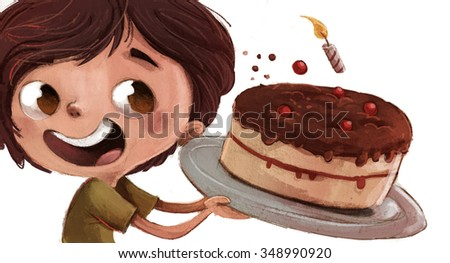 child with birthday cake - stock photo