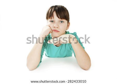 Child with broken hand. Isolated on white background - stock photo