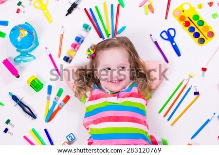 Child draw paint supplies kids happy stock photo royalty for Learning to paint and draw