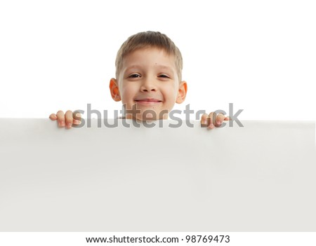 Child with empty blank isolated on white