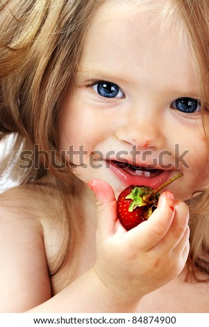 Child with food. Healthy eating. - stock photo