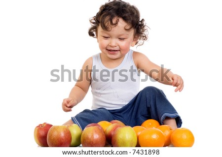 Child with fruits,isolated on a white background.