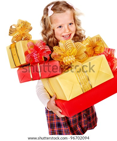 Child with group gift box on birthday.  Isolated. - stock photo