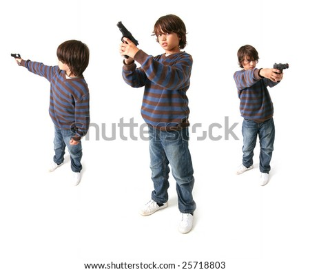 child with gun isolated on white. kid playing gangster or criminal - stock photo