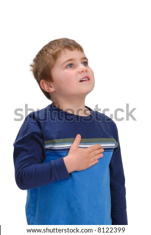 Child with hand on chest looking up, isolated on white