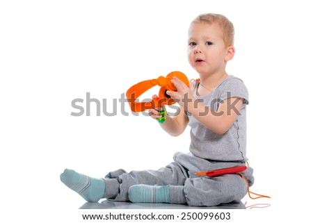Child with headset isolated on white