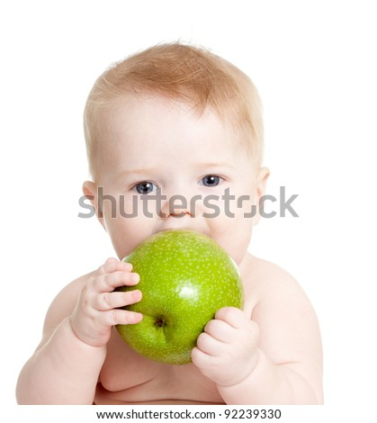 child with healthy food green apples - stock photo