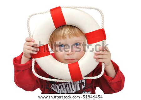 Child with life ring for swim - stock photo