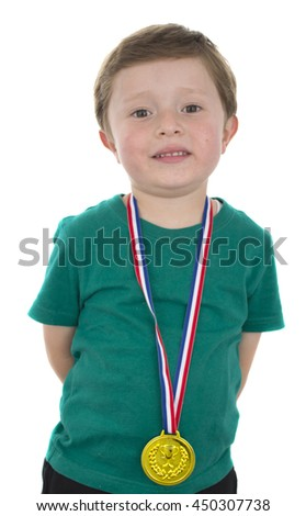 Child with medals in his hands - stock photo