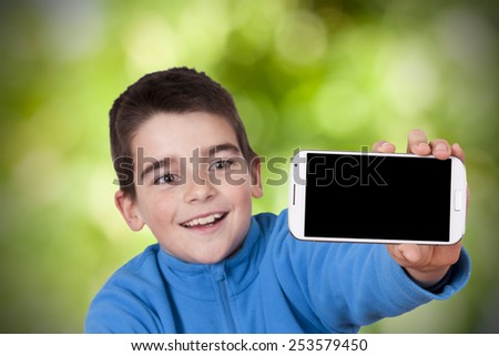 child with mobile phone - stock photo
