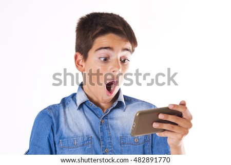 child with mobile phone isolated