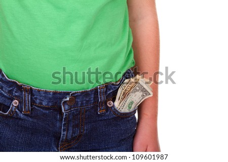 Child with money in pocket, isolated on white