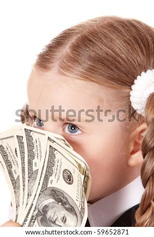 Child with money. Isolated. - stock photo