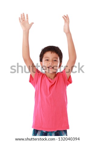 child with open hands up as a sign of happiness