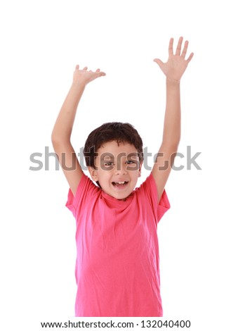 child with open hands up as a sign of happiness - stock photo