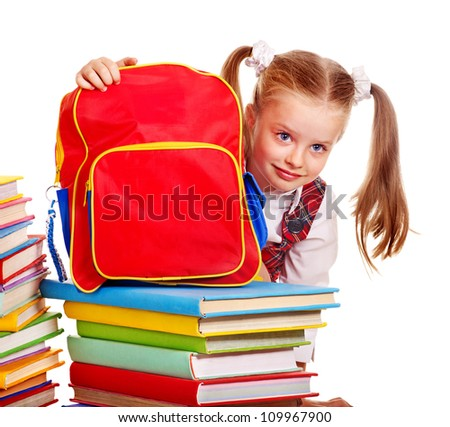 Child with red backpack holding book. Isolated.