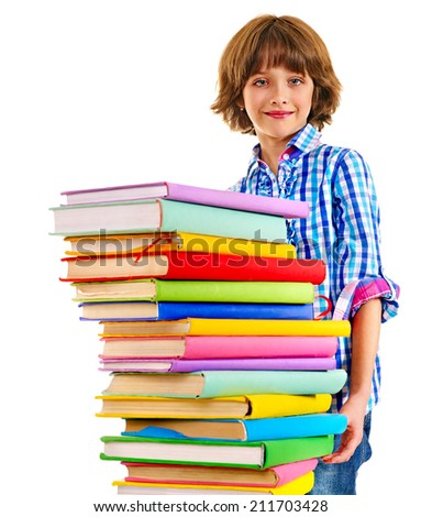 Child with stack of books. Isolated.