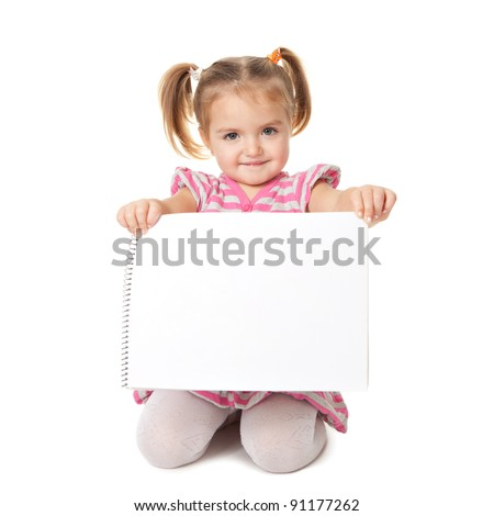 child with white sheet on a white background - stock photo