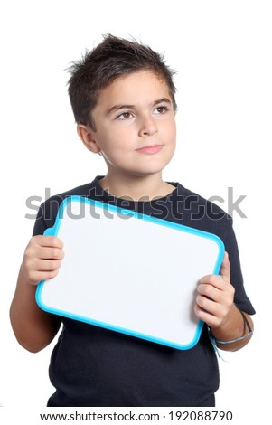 child with whiteboard - stock photo