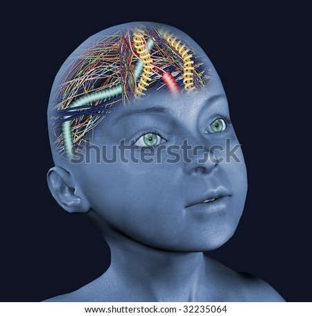 child with wired brain - stock photo