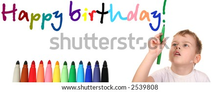 child write happy birthday 2