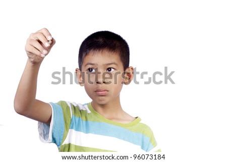 Child writing on white background - stock photo