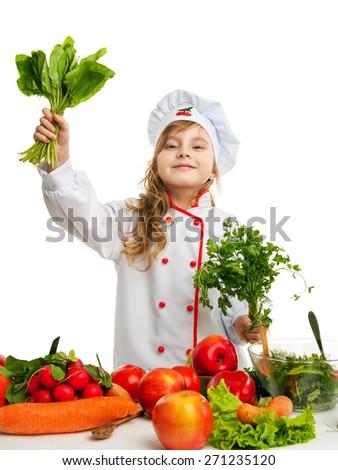 Child 5-6 years preparing food. - stock photo