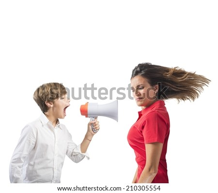 Child yells at her mother with megaphone - stock photo