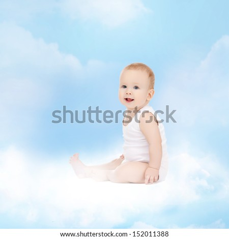 childhood and child care concept - smiling baby sitting on the cloud - stock photo