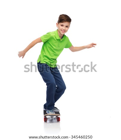 childhood, leisure, school and people concept - happy smiling boy with skateboard - stock photo