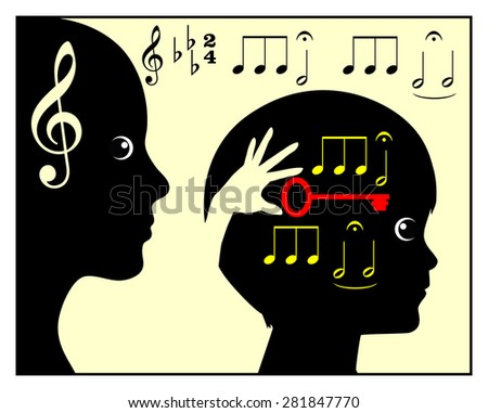 Childhood Music Education. Concept sign of mother or teacher teaching a child in classical music - stock photo