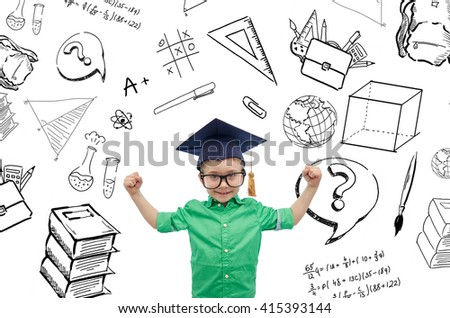 childhood, school, education, knowledge and people concept - happy boy in bachelor hat or mortarboard and eyeglasses showing strong hands with doodles - stock photo