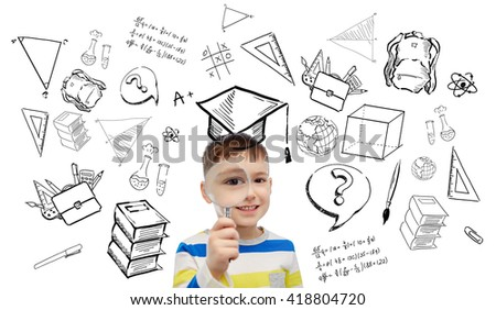 childhood, school, education, learning and people concept - happy little boy looking through magnifying glass with doodles - stock photo