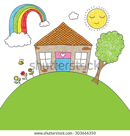Childish doodle of a little house, rainbow, tree, flowers, bee with space for your text - stock photo