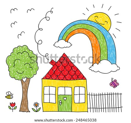 Childish doodle of a rainbow over a little house and a tree  - stock photo