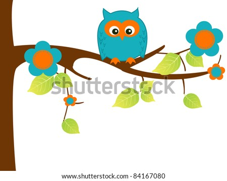 Childish illustration of owl