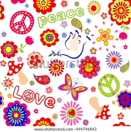 Childish seamless wallpaper with colorful abstract flowers, hippie symbolic, mushrooms and dove