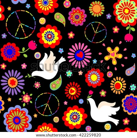 Childish wallpaper with hippie symbolic and doves - stock photo