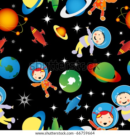 Childlike drawing with astronauts and planets, stars, pattern - stock photo