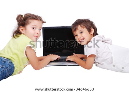 Children activities on laptop isolated in white