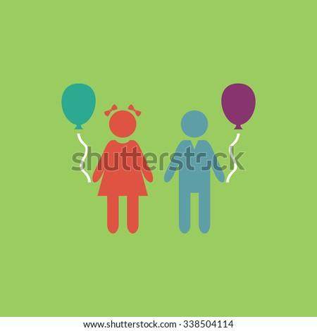 Children and Balloon. Colored simple icon. Flat retro color modern illustration symbol - stock photo