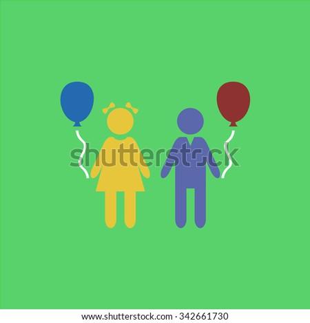 Children and Balloon. Colorful retro flat icon - stock photo