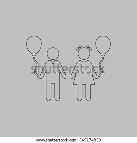 Children and Balloon. Flat outline icon on grey background - stock photo