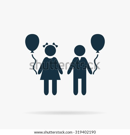 Children and Balloon. Flat web icon or sign on grey background with shadow. Collection modern trend concept design style illustration symbol - stock photo